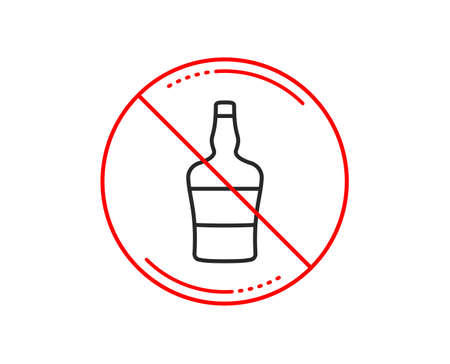 No or stop sign. Scotch bottle line icon. Brandy alcohol sign. Caution prohibited ban stop symbol. No  icon design.  Vector