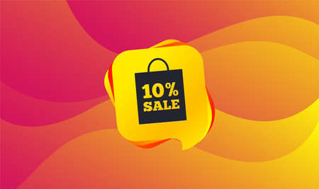 10% sale bag tag sign icon. Discount symbol. Special offer label. Wave background. Abstract shopping banner. Template for design. Vector