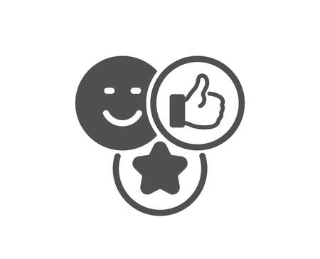 Social media likes icon. Thumbs up sign. Positive smile feedback symbol. Quality design element. Classic style icon. Vector