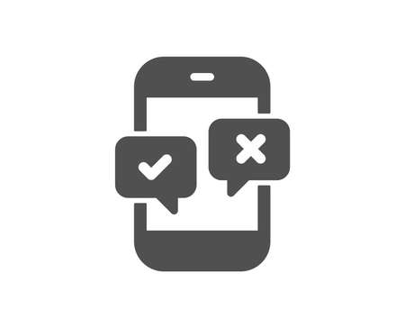 Phone survey icon. Select answer sign. Business interview symbol. Quality design element. Classic style icon. Vector