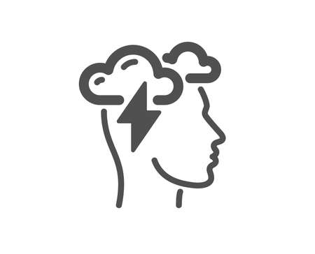 Mindfulness icon. Psychology sign. Cloud storm symbol. Quality design element. Classic style icon. Vector