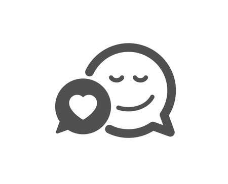 Comic speech bubble with Smile icon. Chat emotion with heart sign. Quality design element. Classic style icon. Vector