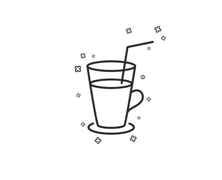 Coffee or Cocktail line icon. Fresh drink sign. Beverage symbol. Geometric shapes. Random cross elements. Linear Cocktail icon design. Vector 일러스트