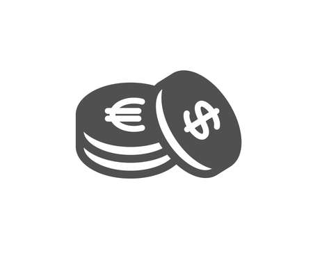 Coins money icon. Banking currency sign. Euro and Dollar Cash symbols. Quality design element. Classic style icon. Vector Foto de archivo - 126313611