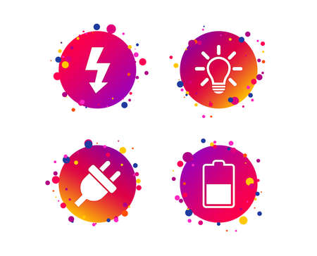 Electric plug icon. Light lamp and battery half symbols. Low electricity and idea signs. Gradient circle buttons with icons. Random dots design. Vector