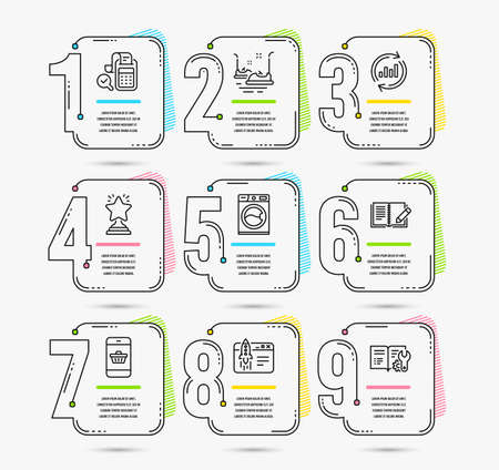 Infographic template with numbers 9 options. Set of Update data, Bill accounting and Start business icons. Bumper cars, Feedback and Washing machine signs. Vector Illustration