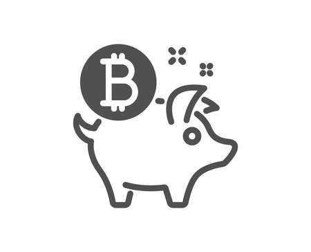 Bitcoin icon. Cryptocurrency coin sign. Piggy bank money symbol. Quality design element. Classic style icon. Vector Ilustracja