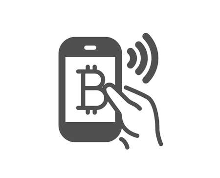 Bitcoin mobile pay icon. Cryptocurrency sign. Crypto money symbol. Quality design element. Classic style icon. Vector