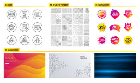 Seamless pattern. Shopping mall banners. Set of Presentation, Messenger and Jazz icons. Report checklist, Artificial intelligence and Typewriter signs. Report document, Music book and Approved symbols Illustration