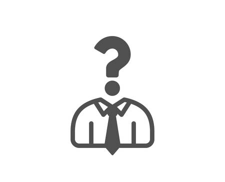 Business head hunting icon. Question sign. Human resources symbol. Quality design element. Classic style icon. Vector