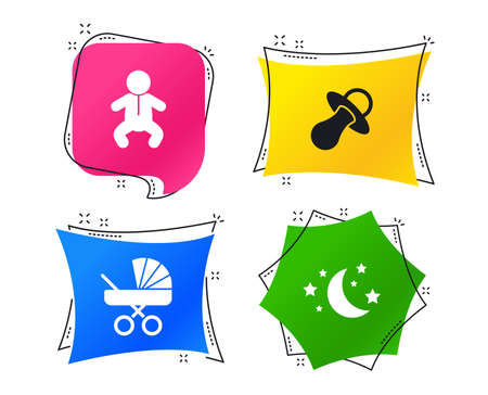 Moon and stars symbol. Baby infants icon. Buggy and dummy signs. Child pacifier and pram stroller. Geometric colorful tags. Banners with flat icons. Trendy design. Vector