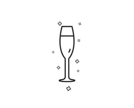 Champagne glass line icon. Wine glass sign. Geometric shapes. Random cross elements. Linear Champagne glass icon design. Vector