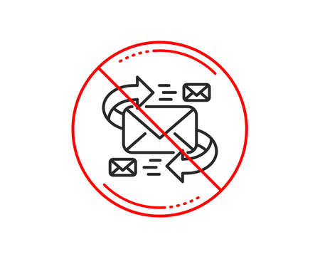 No or stop sign. Mail line icon. Communication by letters symbol. E-mail chat sign. Caution prohibited ban stop symbol. No  icon design.  Vector Ilustrace