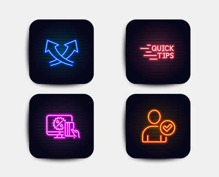 Neon glow lights. Set of Online shopping, Education and Intersection arrows icons. Identity confirmed sign. Black friday, Quick tips, Exchange. Person validated.  Neon icons. Glowing light banners