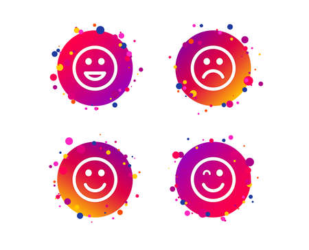 Smile icons. Happy, sad and wink faces symbol. Laughing lol smiley signs. Gradient circle buttons with icons. Random dots design. Vector