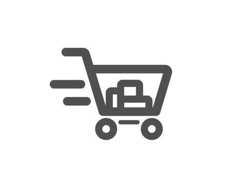 Delivery Service icon. Shopping cart sign. Express Online buying. Supermarket basket symbol. Quality design element. Classic style icon. Vector