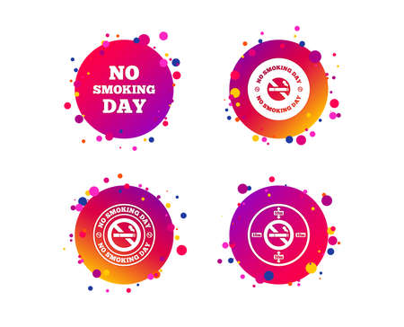 No smoking day icons. Against cigarettes signs. Quit or stop smoking symbols. Gradient circle buttons with icons. Random dots design. Vector Illustration