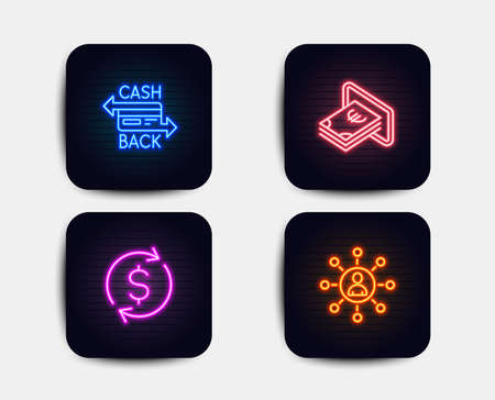 Neon glow lights. Set of Cashback card, Cash and Dollar exchange icons. Networking sign. Money payment, Atm payment, Banking rates. Business communication.  Neon icons. Glowing light banners. Vector