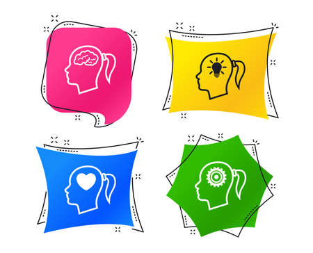 Head with brain and idea lamp bulb icons. Female woman think symbols. Cogwheel gears signs. Love heart. Geometric colorful tags. Banners with flat icons. Trendy design. Vector