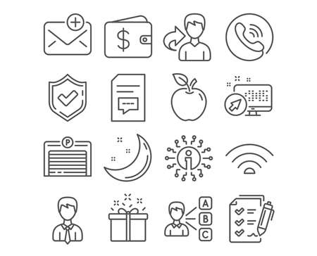 Set of Survey checklist, Wifi and Parking garage icons. Comments, Businessman and New mail signs. Opinion, Special offer and Dollar wallet symbols. Report, Wi-fi internet, Automatic door. Vector