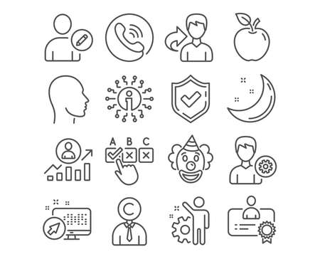 Set of Support, Copyrighter and Employee icons. Clown, Career ladder and Certificate signs. Head, Correct checkbox and Edit user symbols. Edit profile, Writer person, Cogwheel. Vector Illusztráció