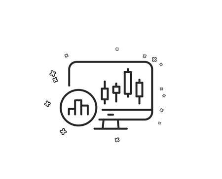 Candlestick chart line icon. Analytics graph sign. Market analytics symbol. Geometric shapes. Random cross elements. Linear Candlestick chart icon design. Vector