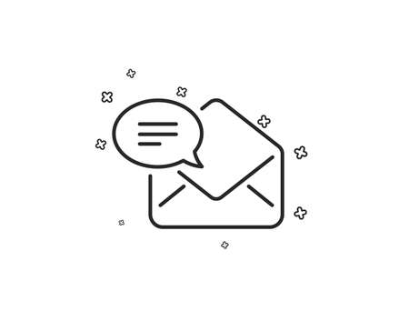 New Mail line icon. Message correspondence sign. E-mail symbol. Geometric shapes. Random cross elements. Linear New Mail icon design. Vector