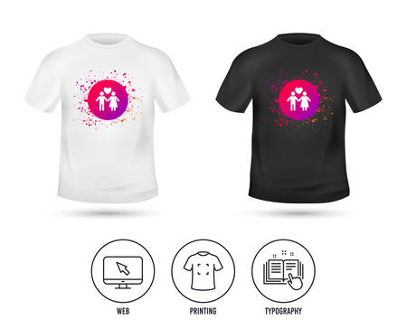 T-shirt mock up template. Couple sign icon. Male love female. Lovers with heart. Realistic shirt mockup design. Printing, typography icon. Vector