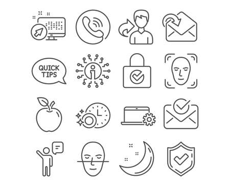 Set of Face detection, Agent and Face recognition icons. Approved mail, Notebook service and Receive mail signs. Dishwasher timer, Quickstart guide and Password encryption symbols. Vector Illustration