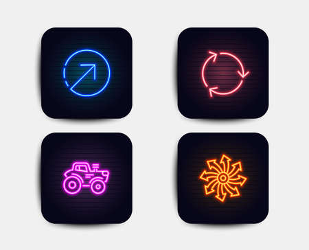 Neon glow lights. Set of Direction, Tractor and Recycling icons. Versatile sign. Navigation pointer, Farm transport, Reduce waste. Multifunction.  Neon icons. Glowing light banners. Vector