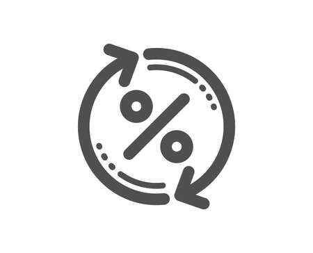 Loan percent update icon. Discount sign. Credit percentage rate symbol. Quality design element. Classic style icon. Vector