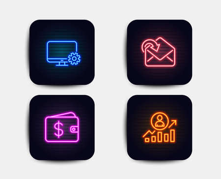 Neon glow lights. Set of Dollar wallet, Monitor settings and Receive mail icons. Career ladder sign. Cash money, Service cogwheel, Incoming message. Manager results.  Neon icons. Glowing light banners 向量圖像