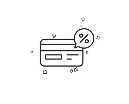 Credit card line icon. Banking Payment card with Discount sign. Cashback service symbol. Geometric shapes. Random cross elements. Linear Cashback icon design. Vector Illustration