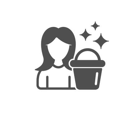 Cleaning service icon. Woman with Bucket symbol. Washing Housekeeping equipment sign. Quality design element. Classic style icon. Vector Standard-Bild - 126313725