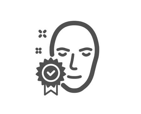 Face verified icon. Access granted sign. Facial identification success symbol. Quality design element. Classic style icon. Vector Foto de archivo - 115043801