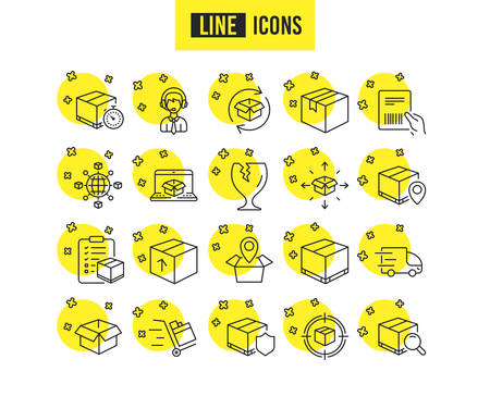 Logistics and Shipping line icons. Set of Truck Delivery, Box and Checklist signs. Push cart, Parcels tracking and World trade. Location pin, Goods Insurance and Document with barcode symbols. Vector Vektorové ilustrace