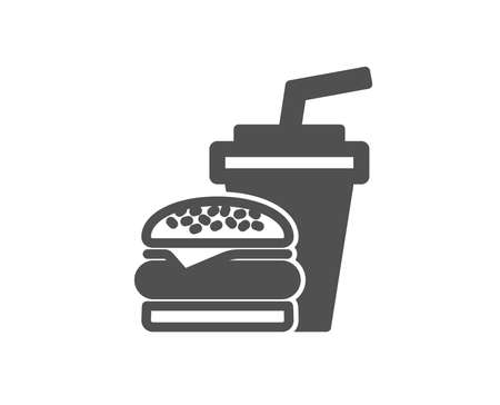 Hamburger with drink icon. Fast food restaurant sign. Hamburger or cheeseburger symbol. Quality design element. Classic style icon. Vector