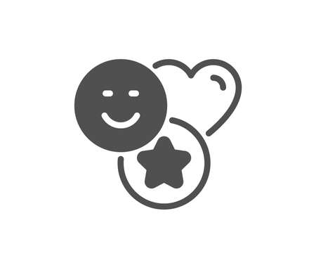 Social media likes icon. Heart, star sign. Positive smile feedback symbol. Quality design element. Classic style icon. Vector