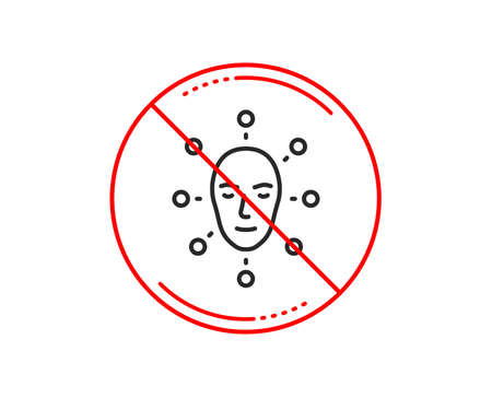 No or stop sign. Face biometrics line icon. Facial recognition sign. Head scanning symbol. Caution prohibited ban stop symbol. No  icon design.  Vector
