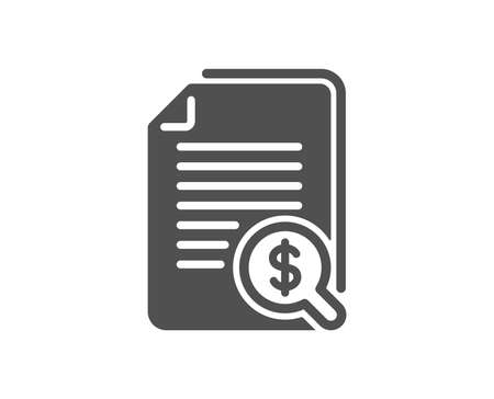 Financial documents icon. Audit or accounting sign. Check finance symbol. Quality design element. Classic style icon. Vector
