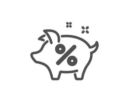 Loan percent icon. Piggy bank sign. Credit percentage symbol. Quality design element. Classic style icon. Vector