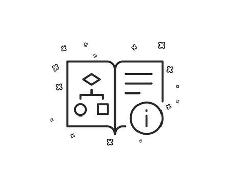Technical algorithm line icon. Project documentation sign. Geometric shapes. Random cross elements. Linear Technical algorithm icon design. Vector Vector Illustratie