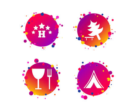Food, hotel, camping tent and tree icons. Wineglass and fork. Break down tree. Road signs. Gradient circle buttons with icons. Random dots design. Vector