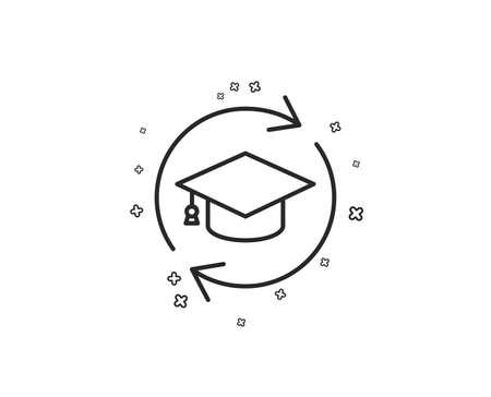 Continuing education line icon. Online education sign. Geometric shapes. Random cross elements. Linear Continuing education icon design. Vector