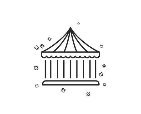 Carousels line icon. Amusement park sign. Geometric shapes. Random cross elements. Linear Carousels icon design. Vector Illustration