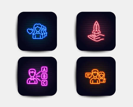 Neon glow lights. Set of Crowdfunding, Woman love and Opinion icons. People talking sign. Start business, Romantic people, Choose answer. Contact service.  Neon icons. Glowing light banners. Vector