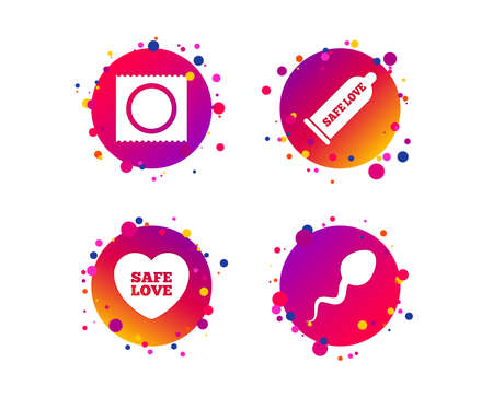 Safe sex love icons. Condom and package symbol. Sperm sign. Fertilization or insemination. Gradient circle buttons with icons. Random dots design. Vector Illustration