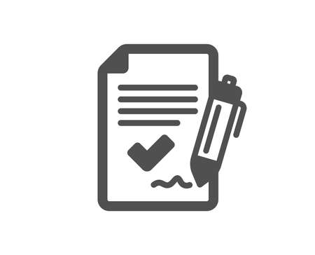 Approved agreement icon. Sign document. Accepted or confirmed symbol. Quality design element. Classic style icon. Vector