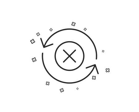 Reject refresh line icon. Decline update sign. Rotation arrow. Geometric shapes. Random cross elements. Linear Reject refresh icon design. Vector Ilustração