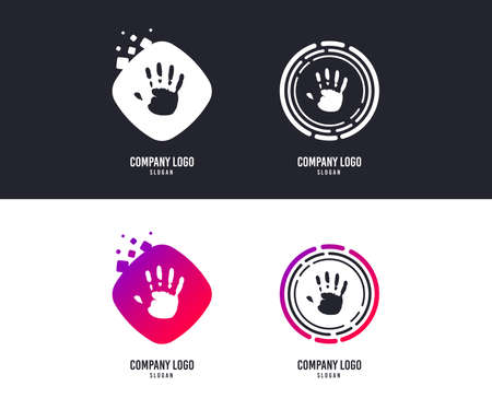 Logotype concept. Hand print sign icon. Stop symbol. Logo design. Colorful buttons with icons. Vector Illustration